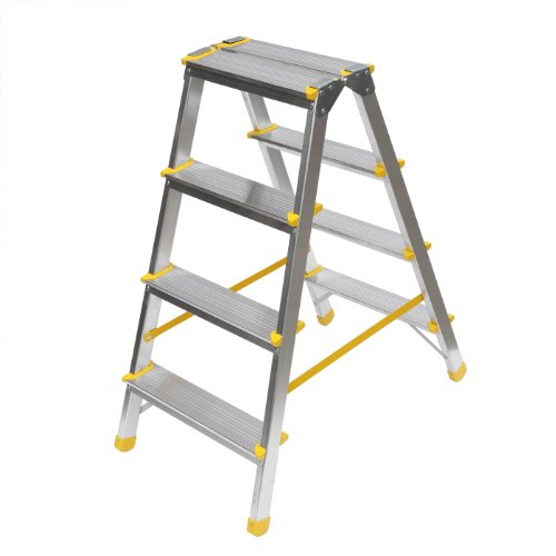 Aluminium Trittleiter, beidseitig begehbar, 2x4 Stufen