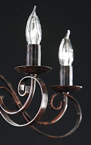 Honsel Leuchte Kronleuchterform 8 flammig, rostfarbig antik - 3