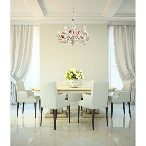 Florentiner Kronleuchter Chic-Stil Metall weiß - 2