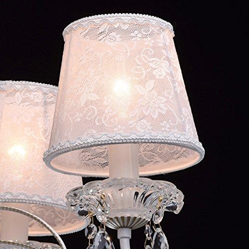 Eleganter Kronleuchter Metall weiße Stoffschirme 5 flammig - 5