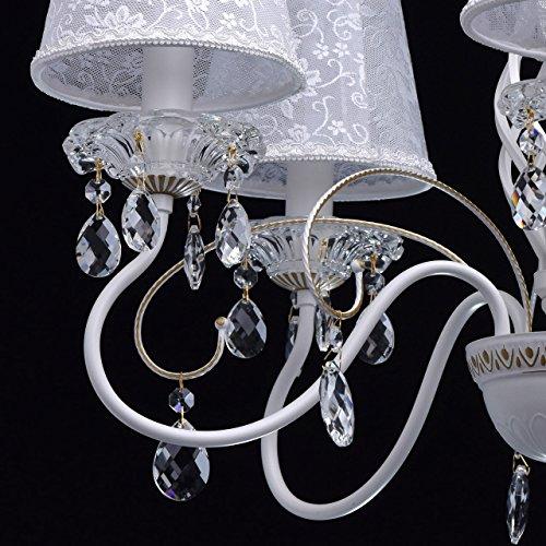 Eleganter Kronleuchter Metall weiße Stoffschirme 5 flammig - 8