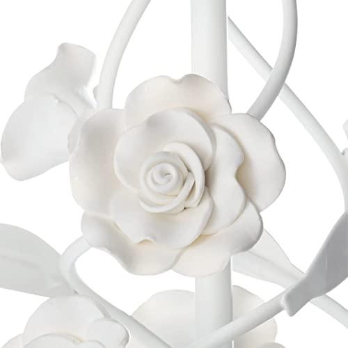 Kronleuchter Rosenblüten 5-flammig E14/max. 40W weiß 40 cm Ø - 4