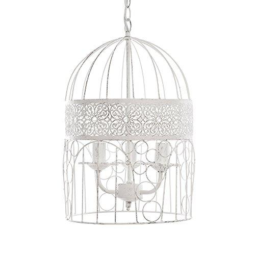 Kronleuchter BIRDCAGE weiß shabby chic Vogelkäfig Hängelampe Deckenlampe