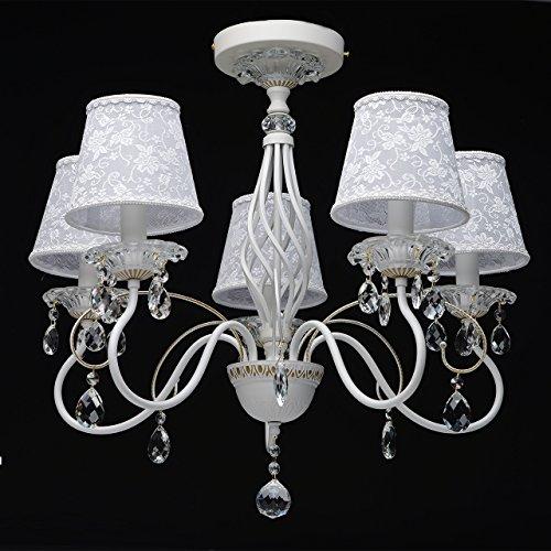 Eleganter Kronleuchter Metall weiße Stoffschirme 5 flammig Kristall klar - 10