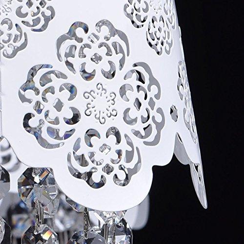 Deckenleuchte Kronleuchter weiß Metall Kristall klar Ø64cm - 6