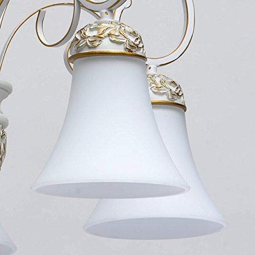Kronleuchter weiß und gold Metall klassisch antik mattweiße Glasschirme - 8