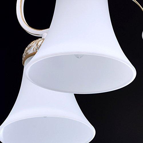 Kronleuchter weiß und gold Metall klassisch antik mattweiße Glasschirme - 4