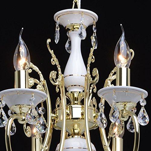 Goldfarbig und weiß Kronleuchter  Kristall 8 flammig Wohnzimmer mit Kerzen - 2
