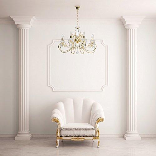 Goldfarbig und weiß Kronleuchter  Kristall 8 flammig Wohnzimmer mit Kerzen - 10