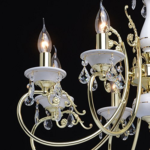 Goldfarbig und weiß Kronleuchter  Kristall 8 flammig Wohnzimmer mit Kerzen - 5