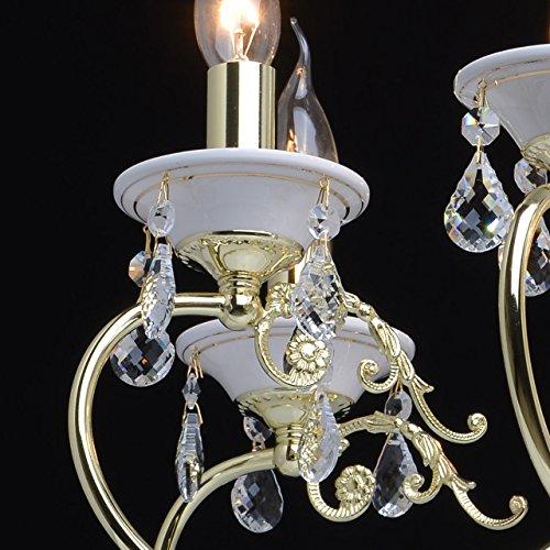 Goldfarbig und weiß Kronleuchter  Kristall 8 flammig Wohnzimmer mit Kerzen - 9