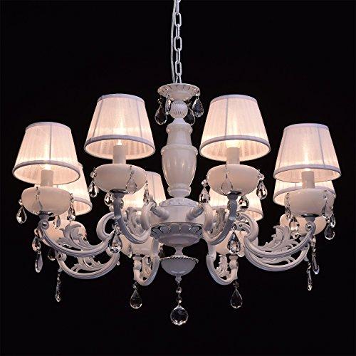 Kronleuchter weiß Kristall klar 8 flammig elegant pendell mit porzellan - 4