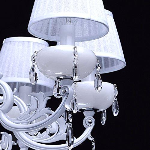 Kronleuchter weiß Kristall klar 8 flammig elegant pendell mit porzellan - 8