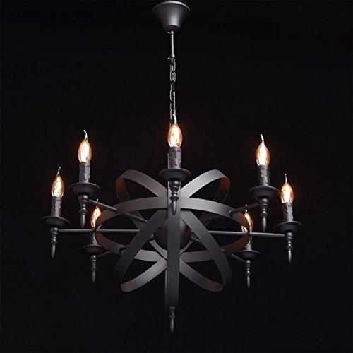 Rustikale Pendelleuchte mittelalterlicher Kronleuchter mit Kerzen 8-flammig Landhausstil - 6