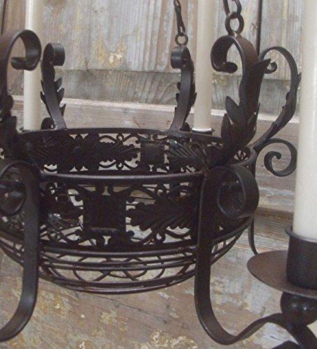 Kronleuchter mit Korb Landhausstil für Kerzen - 2