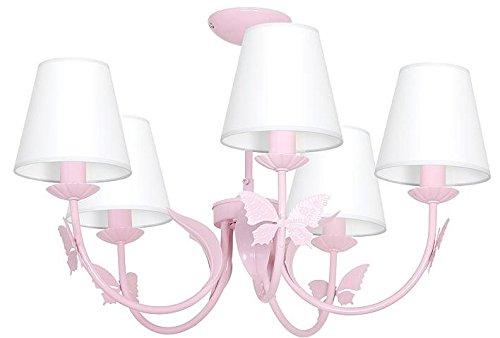 Rosa Kronleuchter Kinderzimmer Mädchen / Schmetterling Hellrosa Kinderzimmerleuchte