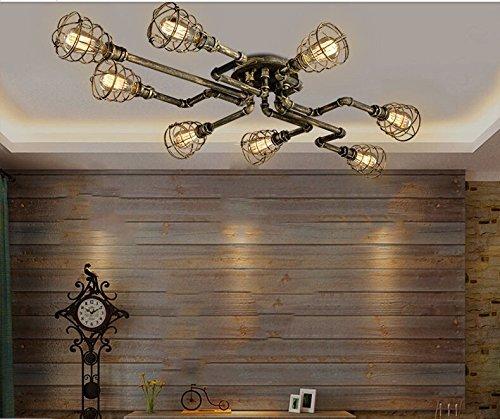 BAYCHEER Deckleuchte Industrielampe 6 Lampenfassung 65cm Retro Kupfer Semi Flush Deckenlampe Kronleuchte Pendellampe (8 Lampen) - 4