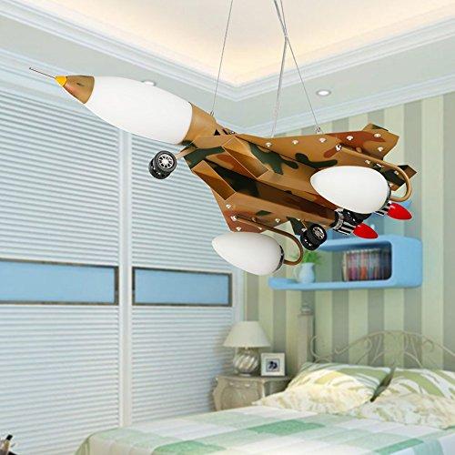 LED-Karikatur-kreative Pers5onlichkeit-Tarnungs-Flugzeug-Kinderzimmer-Eisen-Kronleuchter-Schlafzimmer-Jungen-Raum-Kronleuchter - 3