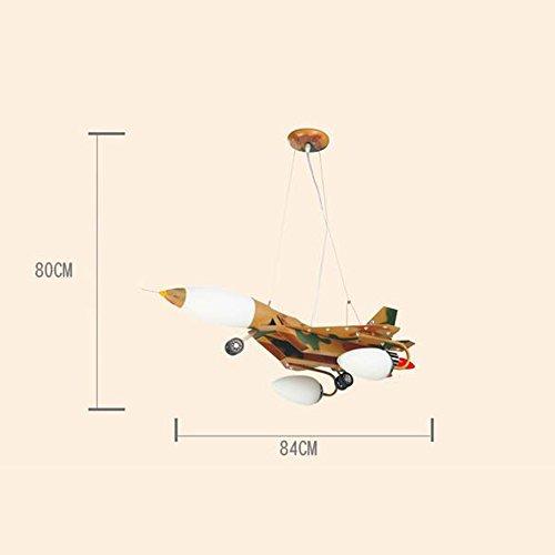 LED-Karikatur-kreative Pers5onlichkeit-Tarnungs-Flugzeug-Kinderzimmer-Eisen-Kronleuchter-Schlafzimmer-Jungen-Raum-Kronleuchter - 4