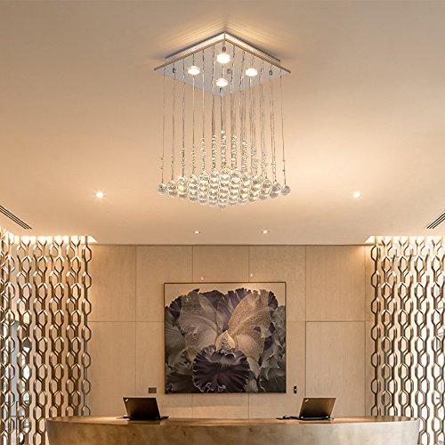 Saint Mossi ® Modern Unterputzmontage Regen Fallen Kronleuchter Kristall Leuchter Viereck entworfen Deckenleuchte - 3