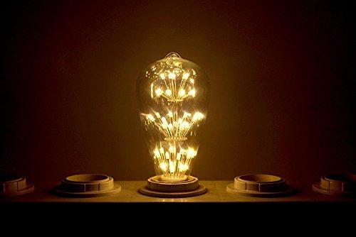 KINGSO E27 ST64 LED Stern Edison Glühbirne 3W 47led Dekorative Vintage Glühlampe Kronleuchter Deko Birne Ideal für Nostalgie und Retro Beleuchtung 220V mit Zertifikat Warmweiß - 7