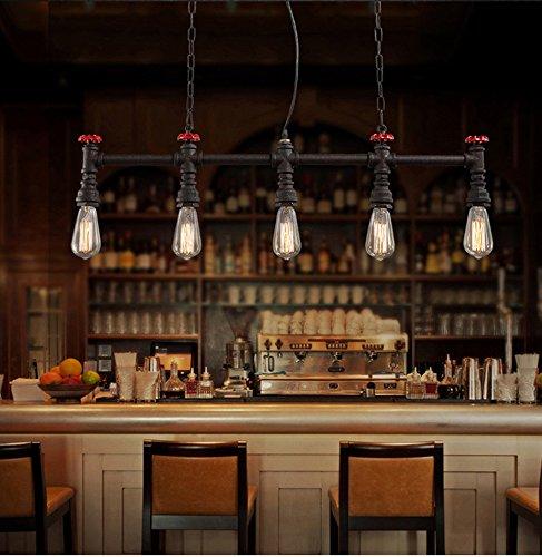 Rostige Farbe Mit Ventil Retro Industrie Steampunk Wasserrohr Eisen Pendellampe Hochwertige Vintage E27-Lampe Kronleuchter Passend Wohnzimmer Küchen Schlafzimmer Korridor Cafe bar Hängelampe 5 Lichter -