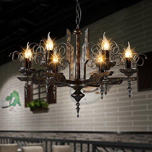 Kronleuchter- Amerikanische Retro Nostalgie LOFT Industrie Wind sechs Eisen Leuchter Wohnzimmer Restaurant Bar Bekleidungsgeschäft Leuchter --Innen Kronleuchter -