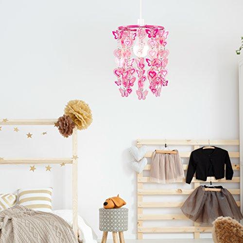MiniSun – Moderner, rosa und weißer Lampenschirm mit Herz- und Schmetterlingmotiv – für Hänge- und Pendelleuchte - 3