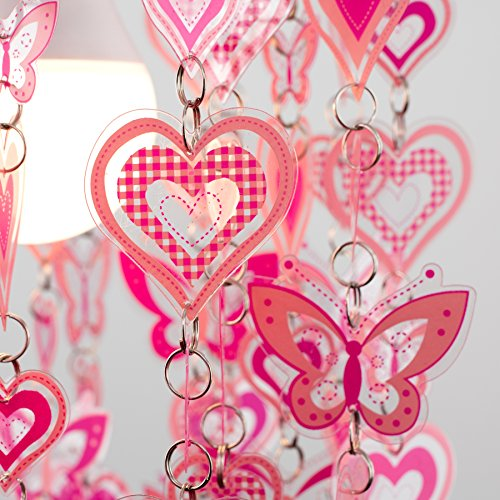 MiniSun – Moderner, rosa und weißer Lampenschirm mit Herz- und Schmetterlingmotiv – für Hänge- und Pendelleuchte - 6