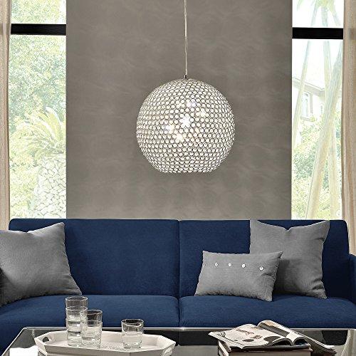 Kugel-Lüster Deckenleuchte / Deckenlampe – Crystal – von [lux.pro]® – Modernes Design: Kron-leuchter aus Aluminium & Kunst-Kristall – Ø 40 cm mit 1 x E14 Sockel – für Wohnzimmer & Schlafzimmer - 3