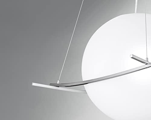 NEG Hängeleuchte UnoPalloni (28,5cm Kugel-Durchmesser) Deckenlampe aus Opalglas und Edelstahl - 5