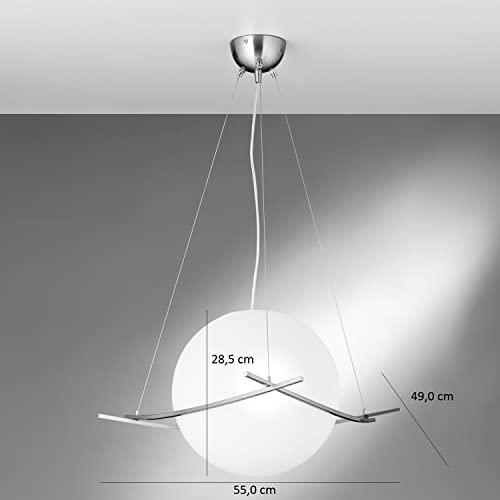 NEG Hängeleuchte UnoPalloni (28,5cm Kugel-Durchmesser) Deckenlampe aus Opalglas und Edelstahl - 6