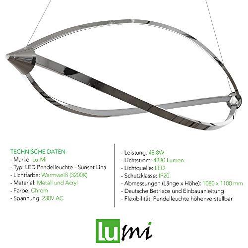 Lu-Mi® LED Pendelleuchte Höhenverstellbar Küchen Deckenleuchte Wohnzimmer Designleuchte Deckenlampe Schlafzimmer Modern (Sunset Lina) - 5