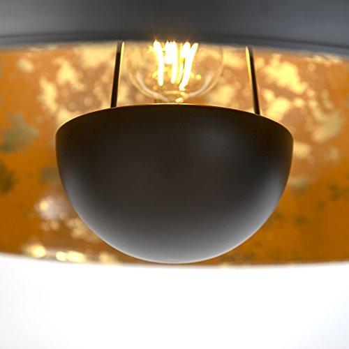 QAZQA Modern Halbrund Pendelleuchte,matt schwarz innen Gold / Messing - 7