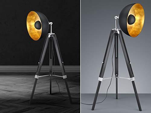 Trio Leuchten Stehleuchte, Metall, E27, Schwarz Matt / Goldfarbig, 80 x 80 x 160 cm - 3
