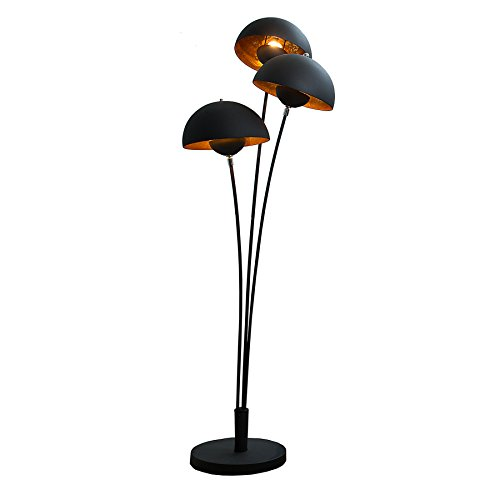 moderne design stehlampe studio iii 170cm schwarz gold e27 lampe blattgold optik stehleuchte. Black Bedroom Furniture Sets. Home Design Ideas
