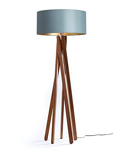 design stehlampe tripod textil schirm in grau gold aus dunklem holz echtholz nussbaum. Black Bedroom Furniture Sets. Home Design Ideas