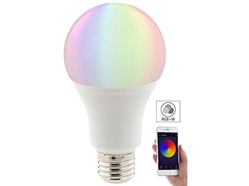 Luminea WiFi LED: WLAN-LED-Lampe, komp. mit Alexa Voice Service, E27, RGBW, 10 Watt, A+ (WLAN Leuchtmittel)