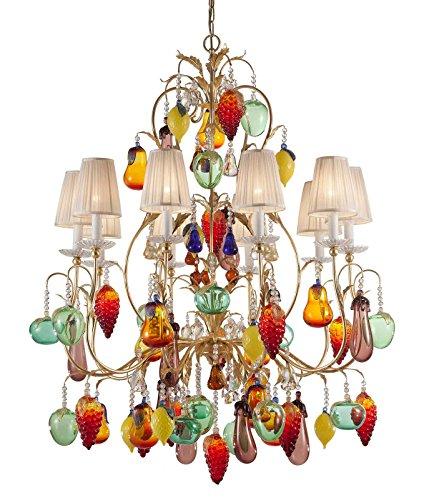 Murano Glas Kristall Kronleuchter Früchte Blattgold
