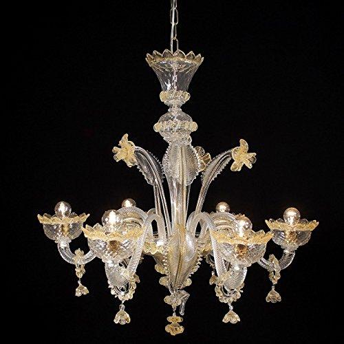Kronleuchter aus Murano-Glas 6-armig golden