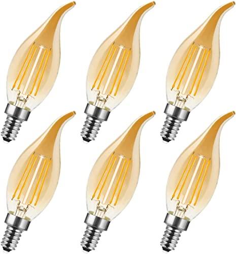 Flamme Form, Glühfaden LED Kerze Lampe, Warmweiß  360° Abstrahlwinkel